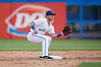 Dunedin Blue Jays shortstop Logan Warmoth (2) waits to receive a throw from the catcher during a game against the Lakeland Flying Tigers on July 31, 2018 at Dunedin Stadium in Dunedin, Florida.  Dunedin defeated Lakeland 8-0.  (Mike Janes/Four Seam Images)