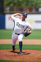 GCL Rays pitcher Collin Chapman (18) delivers a pitch during the second game of a doubleheader against the GCL Red Sox on August 4, 2015 at Charlotte Sports Park in Port Charlotte, Florida.  GCL Red Sox defeated the GCL Rays 2-1.  (Mike Janes/Four Seam Images)