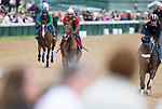 APRIL 30, 2015:  Horses exercises in preparation for the 141st Kentucky Oaks at Churchill Downs in Louisville, Kentucky. Ting Shen/ESW/Cal Sport Media
