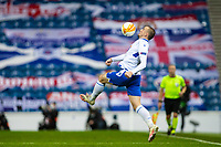 29th October 2020, Ibrox Stadium, Glasgow, Scotland; UEFA Europa League football, group stages; Glasgow Rangers versus Lech Poznan;  Lech player brings down a high ball