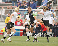 Abby Wambach (blue) of the Washington Freedom goes for the ball with Keely Dowling  of Sky Blue F.C. during a WPS pre season match at Maryland Soccerplex,in Boyd's, Maryland on March 14 2009. Sky Blue won the match 1-0