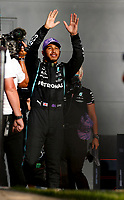 16th July 2021; Silverstone Circuit, Silverstone, Northamptonshire, England; Formula One British Grand Prix, and Qualifying;  44 Lewis Hamilton GBR, Mercedes-AMG Petronas F1 Team takes pole at the F1 Grand Prix of Great Britain at Silverstone Circui