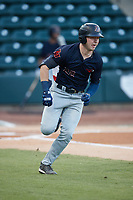 Grant Witherspoon (22) of the Bowling Green Hot Rods hustles down the first base line against the Winston-Salem Dash at Truist Stadium on September 7, 2021 in Winston-Salem, North Carolina. (Brian Westerholt/Four Seam Images)