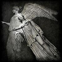 Stone angel relief and stone sculpture from the British Museum, London
