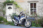 Scarecrow Festival at Kettlewell in Yorkshire 2013<br /> <br /> Batman on a bike<br /> <br /> Scarecrows are made by local community and places in and around their front gardens.  Competition is fierce but it's all to raise money  for the local church  and other local projects to benefit the whole community.<br /> <br /> <br /> <br /> Picture by Gavin Rodgers/ Pixel 8000 <br /> <br /> 07917221968
