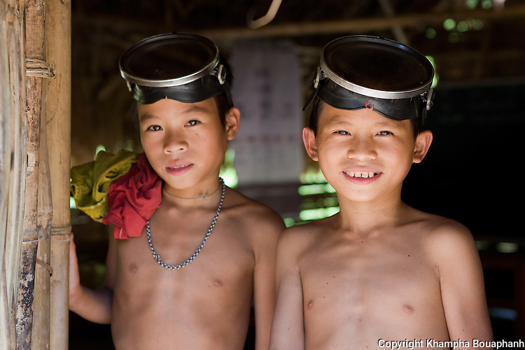 Lanten boys, photographed at Ban Nam Goy in Luang Namtha Province, Laos on November 10, 2009.   (Photo by Khampha Bouaphanh)