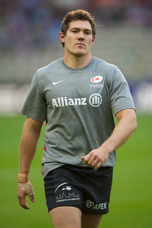 20121020 Copyright onEdition 2012©.Free for editorial use image, please credit: onEdition..Alex Goode of Saracens warms up before the Heineken Cup Round 2 match between Saracens and Racing Metro 92 at the King Baudouin Stadium, Brussels on Saturday 20th October 2012 (Photo by Rob Munro)..For press contacts contact: Sam Feasey at brandRapport on M: +44 (0)7717 757114 E: SFeasey@brand-rapport.com..If you require a higher resolution image or you have any other onEdition photographic enquiries, please contact onEdition on 0845 900 2 900 or email info@onEdition.com.This image is copyright the onEdition 2012©..This image has been supplied by onEdition and must be credited onEdition. The author is asserting his full Moral rights in relation to the publication of this image. Rights for onward transmission of any image or file is not granted or implied. Changing or deleting Copyright information is illegal as specified in the Copyright, Design and Patents Act 1988. If you are in any way unsure of your right to publish this image please contact onEdition on 0845 900 2 900 or email info@onEdition.com