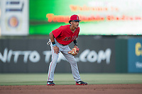 AZL Angels shortstop Jeremiah Jackson (8) during an Arizona League game against the AZL Diamondbacks at Tempe Diablo Stadium on June 27, 2018 in Tempe, Arizona. AZL Angels defeated the AZL Diamondbacks 5-3. (Zachary Lucy/Four Seam Images)