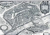 Frankfurt: Engraving, 1628--Bird's -eye view. Matthaeus Merianus, Engraver. Reference only.