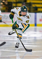 9 February 2020: University of Vermont Catamount Defender Sara Levesque, a Freshman from Chicoutimi, Québec, drives to the net to assist in the Catamounts' third goal of the game in the second period against the University of Connecticut Huskies at Gutterson Fieldhouse in Burlington, Vermont. The Lady Cats defeated the Huskies 6-2 in the second game of their weekend Hockey East series. Mandatory Credit: Ed Wolfstein Photo *** RAW (NEF) Image File Available ***