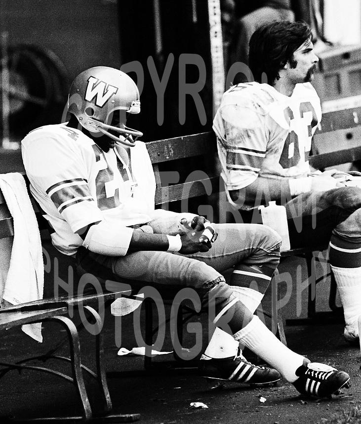 Merv Walker Winnipeg Blue Bombers 1974. Photo F. Scott Grant