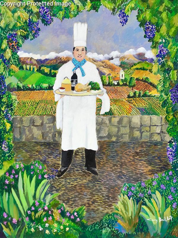 """Delices de la Valle Napa""<br /> Delights of the Napa Valley<br /> <br /> Limited Edition Giclee <br /> SN Paper 26.5x20 $1,150<br /> SN Canvas 26.5x20 $1,150<br /> AP Canvas 40x30 $2,100<br /> 40x30 ORIGINAL AVAILABLE!"