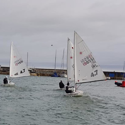 Action stations - the fleet is growing for HYC's junior Laser training. Photo: HYC