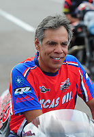 Mar. 9, 2012; Gainesville, FL, USA; NHRA pro stock motorcycle rider Hector Arana Sr during qualifying for the Gatornationals at Auto Plus Raceway at Gainesville. Mandatory Credit: Mark J. Rebilas-