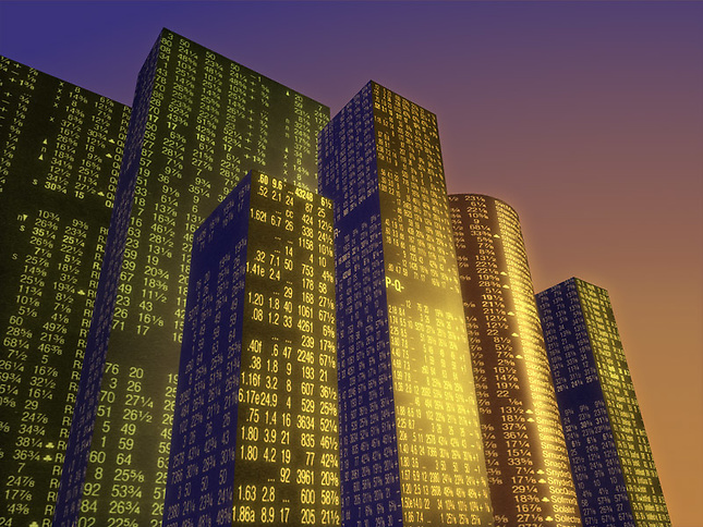 Buildings mapped with stock quotes