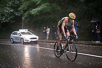 Gerry Druyts (BEL/Crelan-Vastgoedservice) racing/fighting in te rain<br /> <br /> 50th GP Jef Scherens 2016