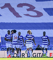 5th April 2021; Madejski Stadium, Reading, Berkshire, England; English Football League Championship Football, Reading versus Derby County; Michael Olise of Reading celebrates with his team after scoring in 45th minute for 1-0