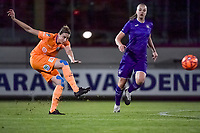 Gent's defender Heleen Jacques (4) and Anderlecht midfielder Tine De Caigny (6) pictured during a female soccer game between RSC Anderlecht Dames and AA Gent Ladies on the seventh matchday of the 2020 - 2021 season of Belgian Womens Super League , friday 13 th of November 2020  in Overijse , Belgium . PHOTO SPORTPIX.BE | SPP | STIJN AUDOOREN