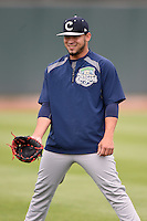 Kane County Cougars pitcher Gabriel Moya (17) during practice before the first game of a doubleheader against the Cedar Rapids Kernels on May 10, 2016 at Perfect Game Field in Cedar Rapids, Iowa.  Kane County defeated Cedar Rapids 2-0.  (Mike Janes/Four Seam Images)