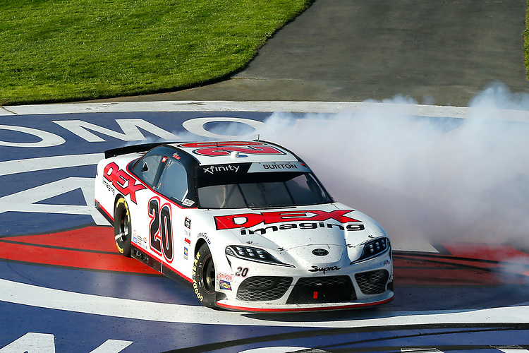 #20: Harrison Burton, Joe Gibbs Racing, Toyota Supra Dex Imaging celebrates his win with a burnout