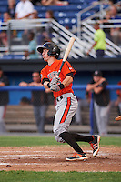 Aberdeen IronBirds shortstop Chris Clare (5) at bat during a game against the Batavia Muckdogs on July 15, 2016 at Dwyer Stadium in Batavia, New York.  Aberdeen defeated Batavia 4-2.  (Mike Janes/Four Seam Images)