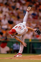 3 September 2005: Ryan Madson, pitcher for the Philadelphia Phillies, on the mound in relief during a game against the Washington Nationals. The Nationals defeated the Phillies 5-4 at RFK Stadium in Washington, DC. <br />