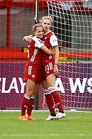 Vivianne Miedema (right) of Arsenal scores goal number 5 for her team and celebrates during Brighton & Hove Albion Women vs Arsenal Women, Barclays FA Women's Super League Football at Broadfield Stadium on 11th October 2020