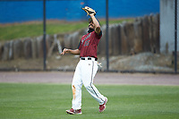 North Carolina Central Eagles right fielder Luis DeLeon (35) catches a fly ball during the game against the North Carolina A&T Aggies at Durham Athletic Park on April 10, 2021 in Durham, North Carolina. (Brian Westerholt/Four Seam Images)