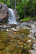Thirteen Falls along Franconia Brook in the Pemigewasset Wilderness of Franconia, New Hampshire during the summer months. These remote waterfalls are located near Thirteen Falls Tentsite.