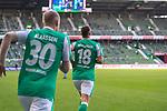 19.09.2020, wohninvest Weserstadion, Bremen, GER,  SV Werder Bremen vs Hertha BSC Berlin, <br /> <br /> <br />  im Bild<br /> <br /> Spieler kommen aufs Spielfeld <br /> Niklas Moisander (Werder Bremen #18 Kapitaen)<br /> Davy Klaassen (Werder Bremen #30)<br /> <br /> Foto © nordphoto / Kokenge<br /> <br /> DFL regulations prohibit any use of photographs as image sequences and/or quasi-video.