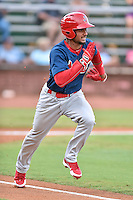 Johnson City Cardinals second baseman Eliezer Alvarez (11) runs to first during a game against the Elizabethton Twins on July 30, 2015 in Elizabethton, Tennessee. The Twins defeated the Cardinals 13-4. (Tony Farlow/Four Seam Images)
