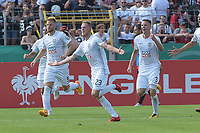 celebration vom scorern Steffen Kienle (SSV Ulm 1846 #23), SSV Ulm 1846 - Eintracht Frankfurt, Football, DFB-Pokal,round 1, 18.08.2018<br />DFB RULES PROHIBIT USE IN MMS SERVICES VIA HANDHELD DEVICES UNTIL TWO HOURS AFTER A MATCH AND ANY USAGE ON INTERNET OR ONLINE MEDIA SIMULATING VIDEO FOOdayE DURING THE MATCH. *** Local Caption *** © pixathlon<br /> Contact: +49-40-22 63 02 60 , info@pixathlon.de