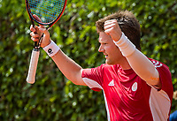 The Hague, Netherlands, 11 June, 2017, Tennis, Play-Offs Competition, Nick van der Meer celebrates, he scores for Egeria Alta.<br /> Photo: Henk Koster/tennisimages.com