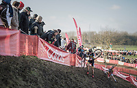 Ellen Van Loy (BEL/Telenet-Fidea) leading the race in the first lap on the slippery river banks where Belgian Champion Sanne Cant (BEL/Enertherm-Beobank) slides away behind her.<br /> <br /> Elite Women's Race<br /> Soudal Jaarmarktcross Niel 2016