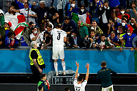 Giorgio Chiellini of Italy celebrates with the supporters at the end of the Uefa Euro 2020 round of 8 football match between Belgium and Italy at football arena in Munich (Germany), July 2nd, 2021. Photo Matteo Ciambelli / Insidefoto