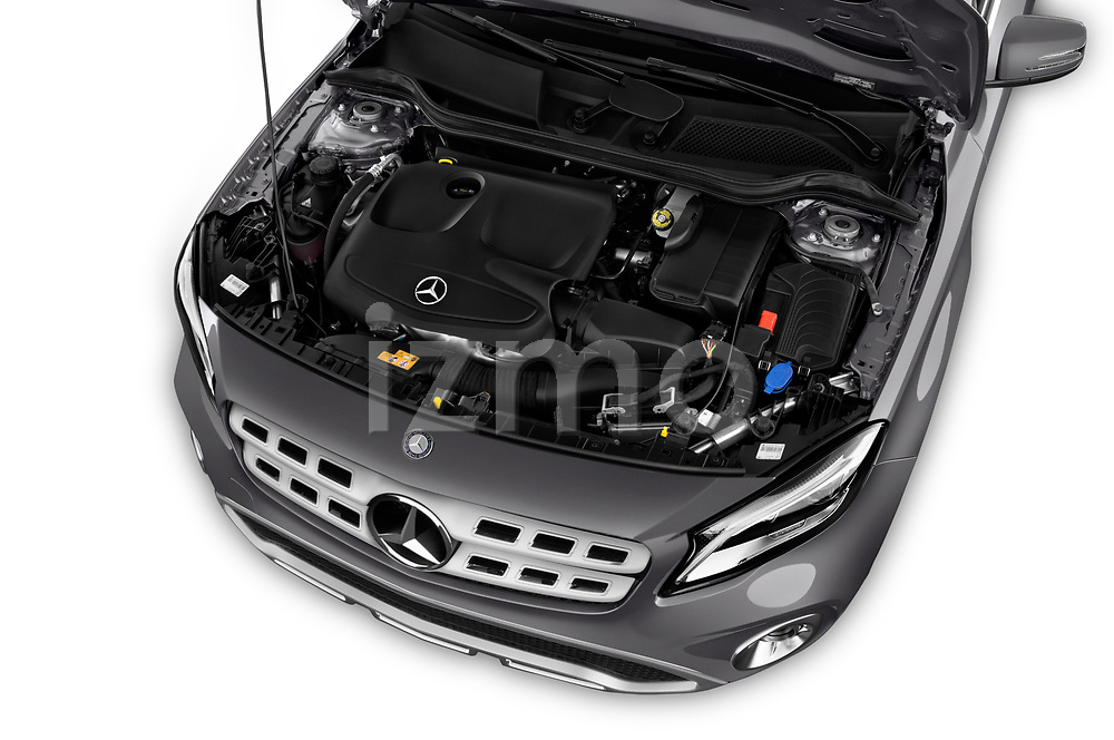 Car stock 2018 Mercedes Benz GLA Base 5 Door SUV engine high angle detail view