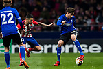 Robert Skov (R) of FC Copenhague competes for the ball with Victor Machin, Vitolo, of Atletico de Madrid during the UEFA Europa League 2017-18 Round of 32 (2nd leg) match between Atletico de Madrid and FC Copenhague at Wanda Metropolitano  on February 22 2018 in Madrid, Spain. Photo by Diego Souto / Power Sport Images