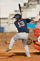Hyeong-Rok Choi #13 of the Elizabethton Twins at bat against the Johnson City Cardinals at Howard Johnson Field July 3, 2010, in Johnson City, Tennessee.  Photo by Brian Westerholt / Four Seam Images