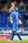 St Johnstone v Queen of the South...21.09.10  CIS Cup 3rd Round.Chris Millar celebrates his goal with Sam Parkin.Picture by Graeme Hart..Copyright Perthshire Picture Agency.Tel: 01738 623350  Mobile: 07990 594431