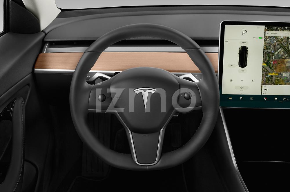 Car pictures of steering wheel view of a 2019 Tesla Model-3 Performance 4 Door Sedan