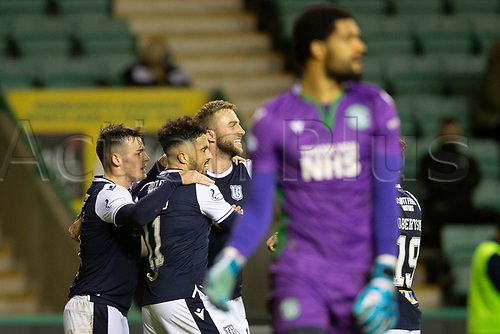 15th November 2020; Easter Road, Edinburgh, Scotland; Scottish League Cup Football, Hibernian versus Dundee FC; Christie Elliott of Dundee is congratulated after scoring for 1-1 in the 70th minute