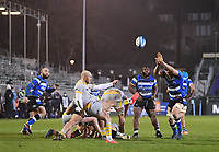 8th January 2021; Recreation Ground, Bath, Somerset, England; English Premiership Rugby, Bath versus Wasps; Dan Robson of Wasps kicks under pressure from Charlie Ewels of Bath