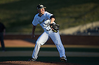 Wake Forest Demon Deacons starting pitcher Parker Dunshee (36) delivers a pitch to the plate against the USC Trojans at David F. Couch Ballpark on February 24, 2017 in  Winston-Salem, North Carolina.  The Demon Deacons defeated the Trojans 15-5.  (Brian Westerholt/Four Seam Images)