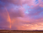 Elko County, NV       <br /> Unsettled sky with sunrise on double rainbow above the plains of north central Nevada