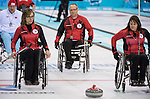 Sochi, RUSSIA - Mar 10 2014 -  Sonja Gaudet, Dennis Thiessen and Ina Forrest during Canada vs Norway in Wheelchair Curling round robin play at the 2014 Paralympic Winter Games in Sochi, Russia.  (Photo: Matthew Murnaghan/Canadian Paralympic Committee)