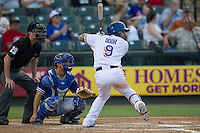 Round Rock Express designated hitter Rougned Odor (9) at bat during the Pacific Coast League baseball game against the Oklahoma City Dodgers on June 9, 2015 at the Dell Diamond in Round Rock, Texas. The Dodgers defeated the Express 6-3. (Andrew Woolley/Four Seam Images)