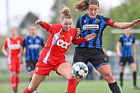Stephanie Pirotte (4) of Standard  pictured fighting for the ball with Ellen Martens (2) of Club Brugge during a female soccer game between Club Brugge Dames YLA and Standard Femine de Liege on the seventh matchday in Play-Off 1 of the 2020 - 2021 season of Belgian Scooore Womens Super League , saturday 15 May 2021  in Brugge , Belgium . PHOTO SPORTPIX.BE | SPP | DAVID CATRY
