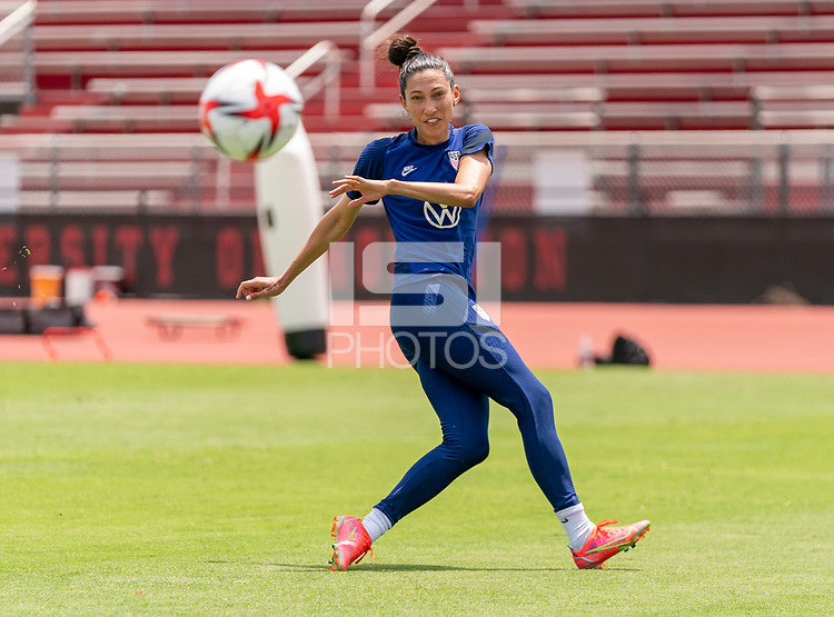 HOUSTON, TX - JUNE 8: Christen Press #23 of the USWNT takes a shot during a training session at the University of Houston on June 8, 2021 in Houston, Texas.