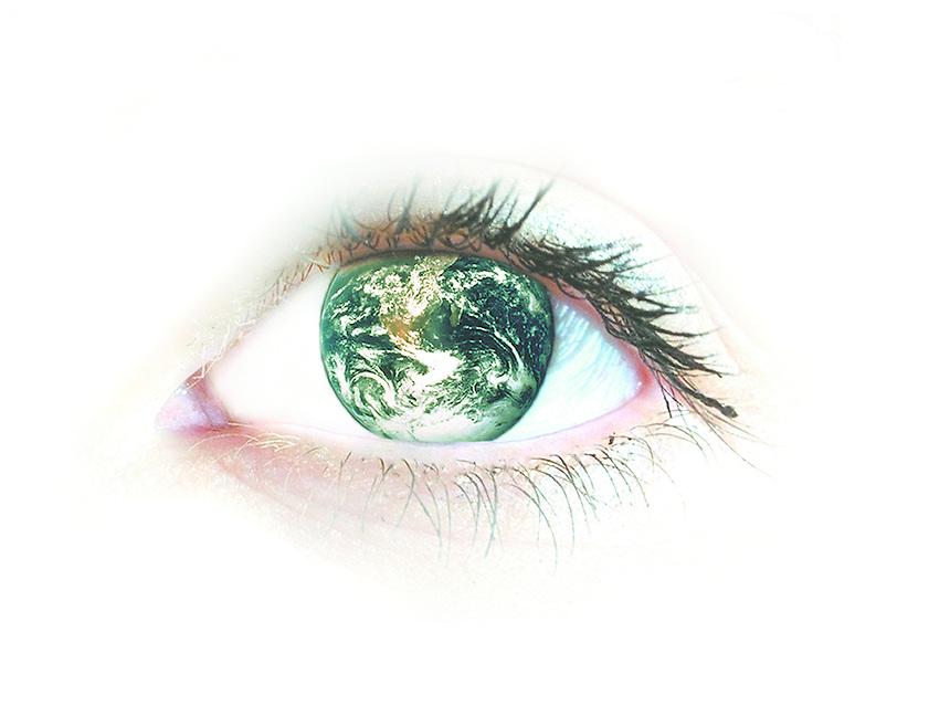 Eye with earth globe.
