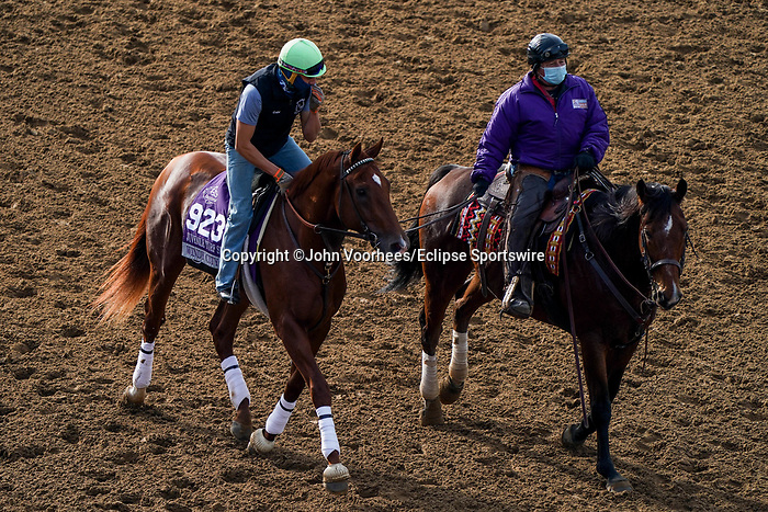 November 5, 2020: Windy City Red, trained by trainer Jonathan Wong, exercises in preparation for the Breeders' Cup Juvenile Turf Sprint at Keeneland Racetrack in Lexington, Kentucky on November 5, 2020. John Voorhees/Eclipse Sportswire/Breeders Cup/CSM